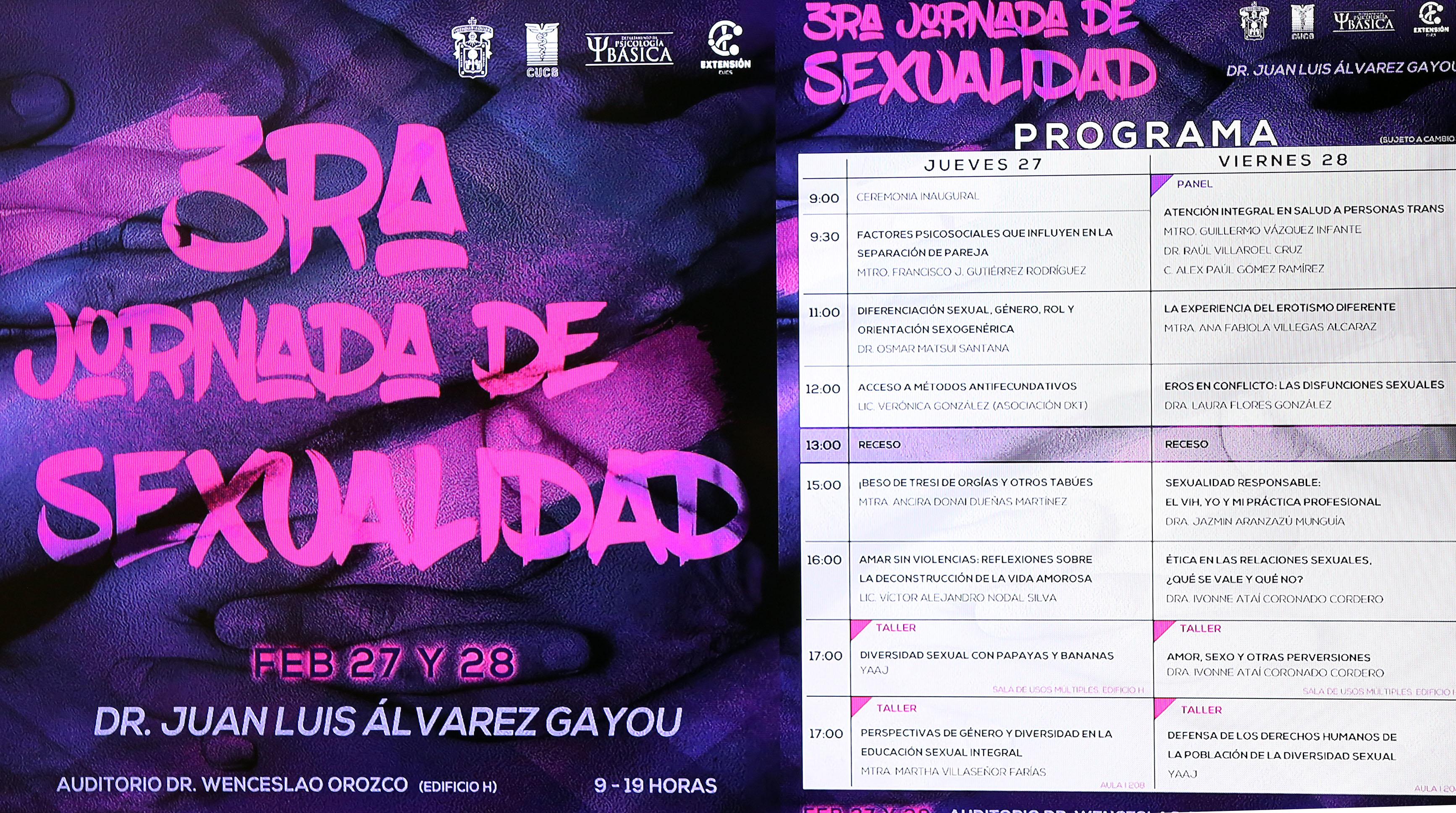 Cartel y programa de la 3ra. Jornada de Sexualidad