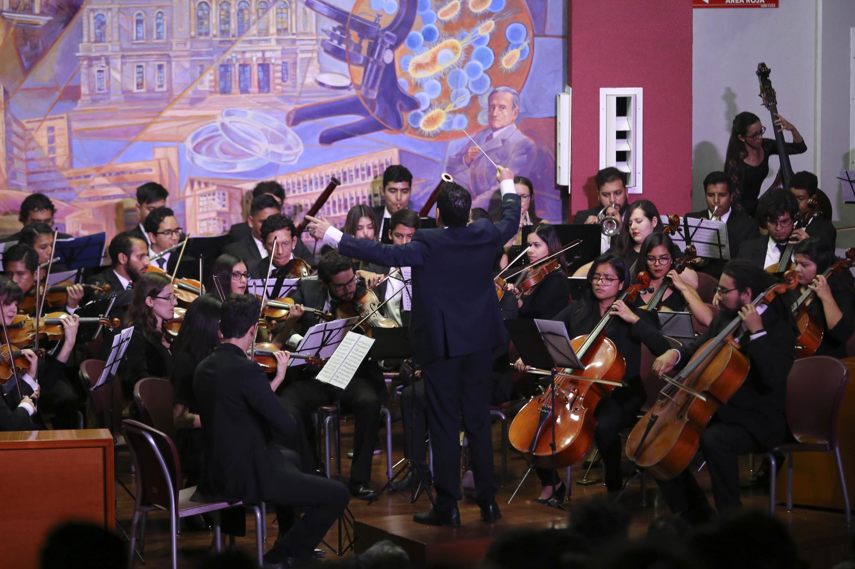Director tomado de espaldas dirigiendo la orquesta