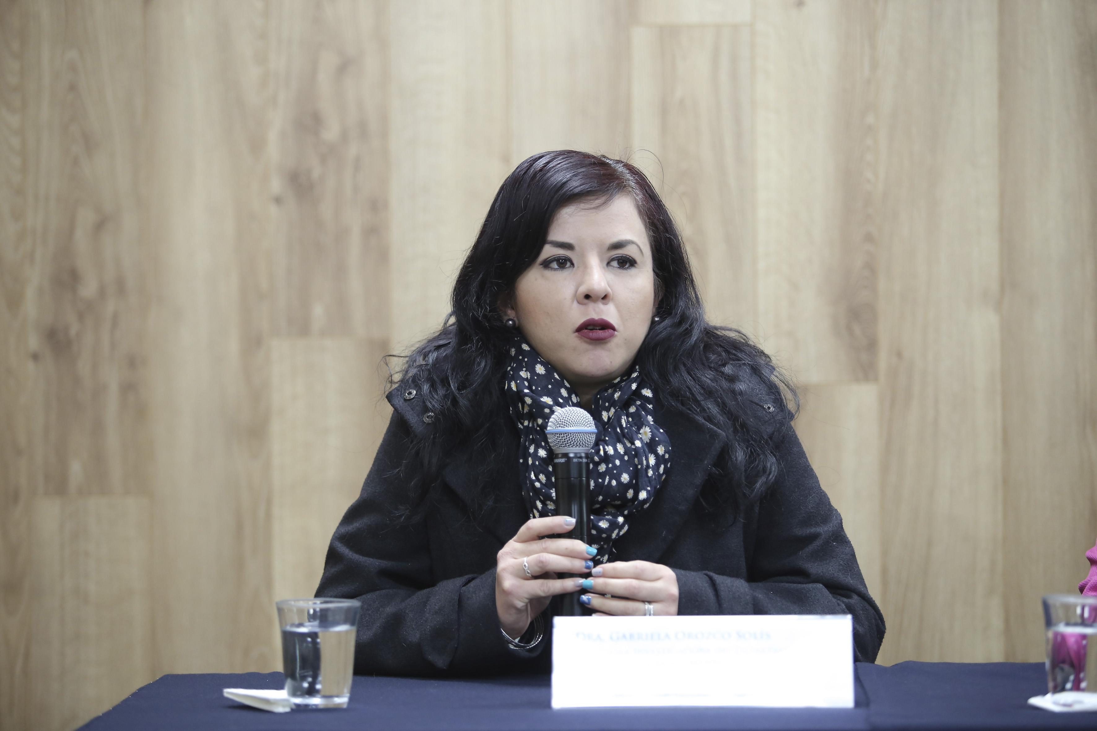 Mtra. Gabriela Orozco exponiendo en rueda de prensa