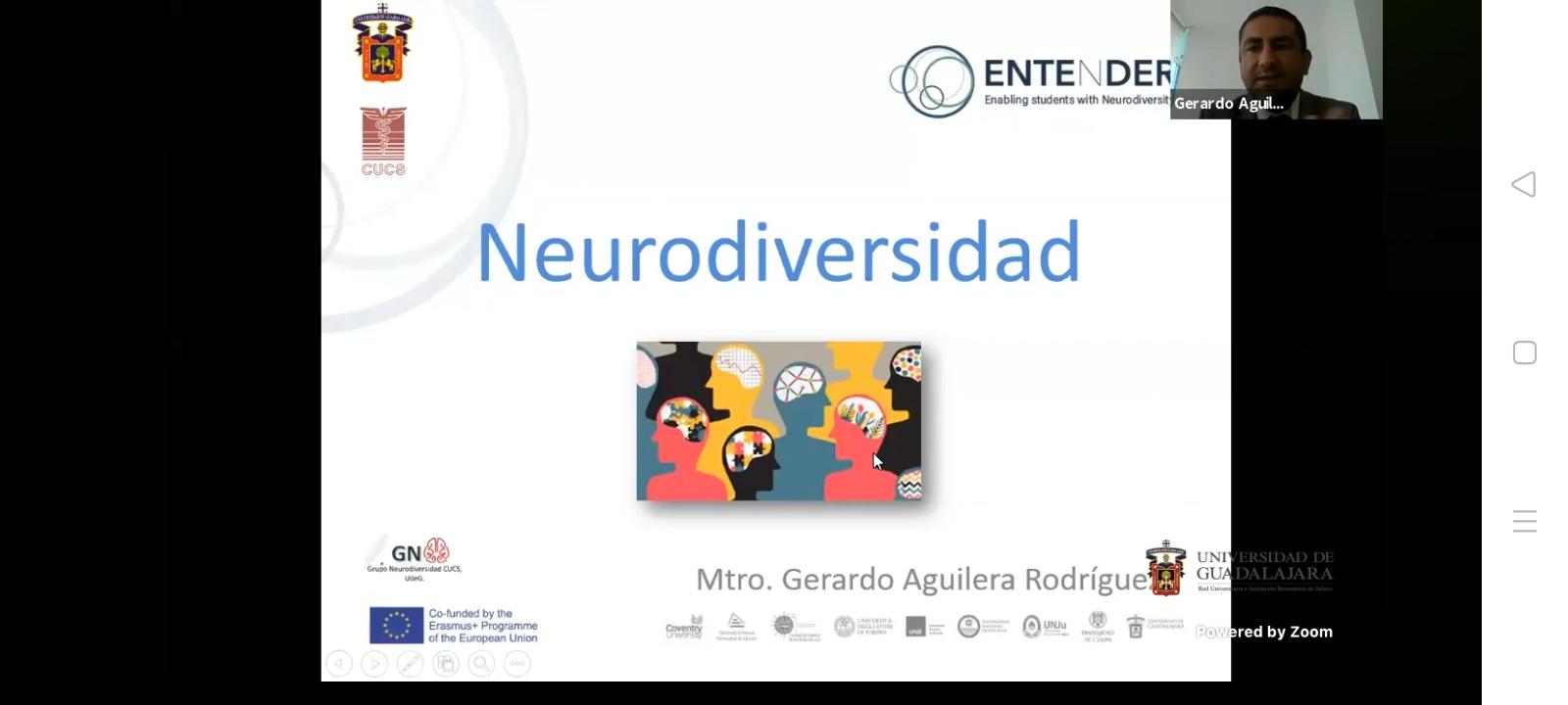 Diapositiva utilizada en la primera presentación del Coloquio. Lleva el nombre de Neurodiversidad