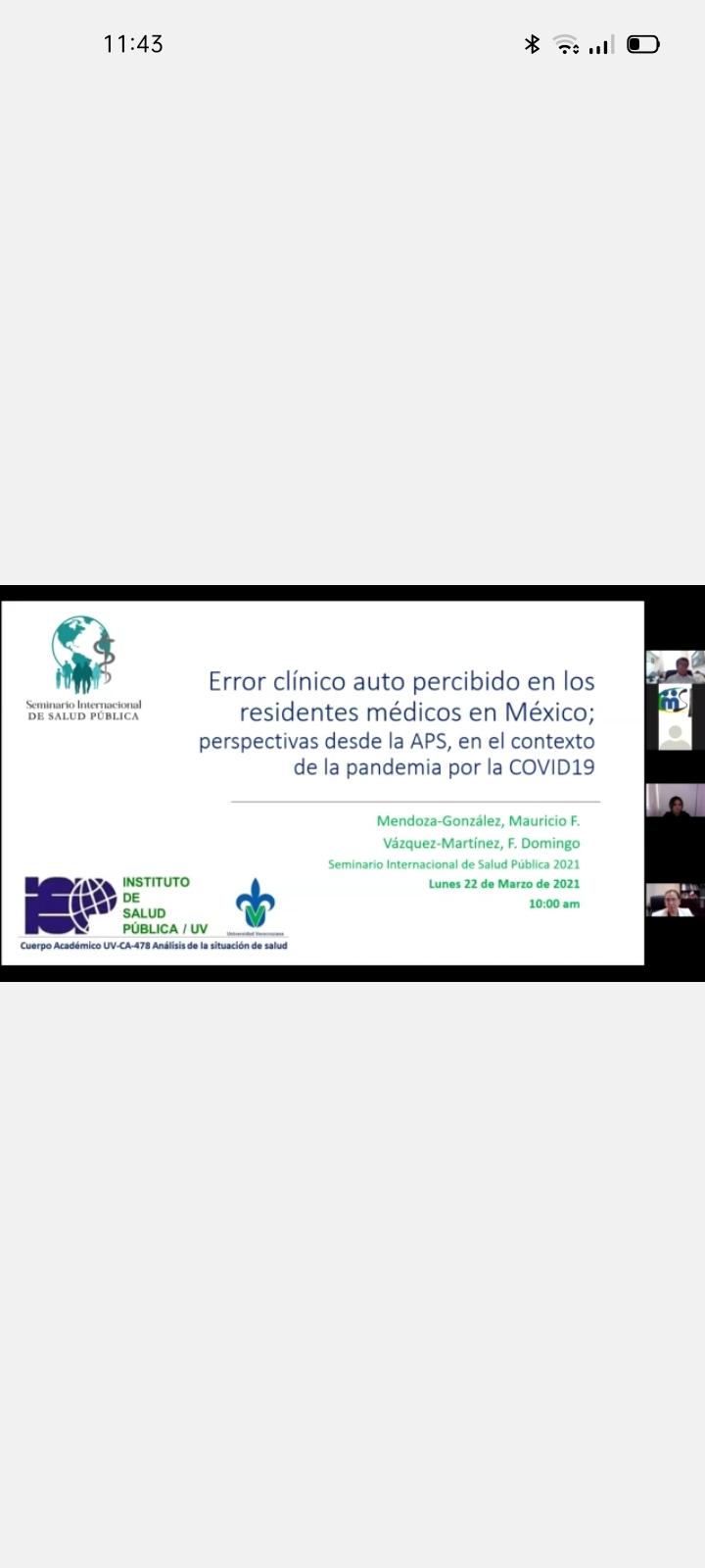Diapositiva con el nombre de la conferencia y los rostros de los participants al costado derecho