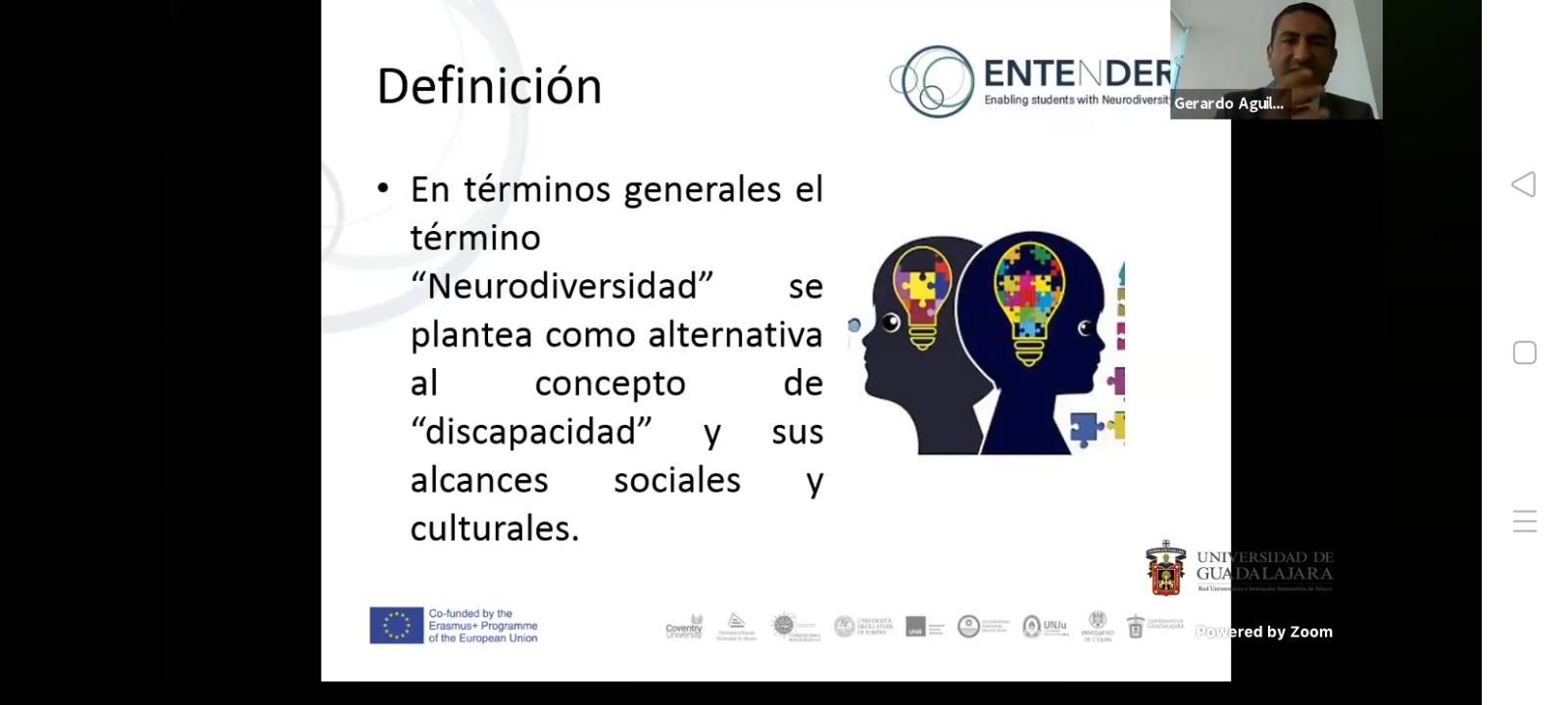 Diapositiva con el concepto de Neurodiversidad, Arriba y a la derecha en un recuadro el coordinador de la Licenciatura en Psicología