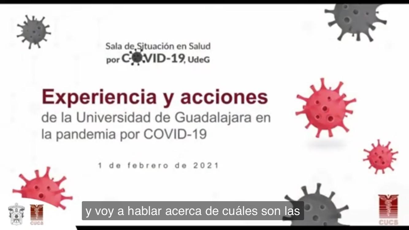 Diapositiva del título de la conferencia dictada por el Rector del CUCS