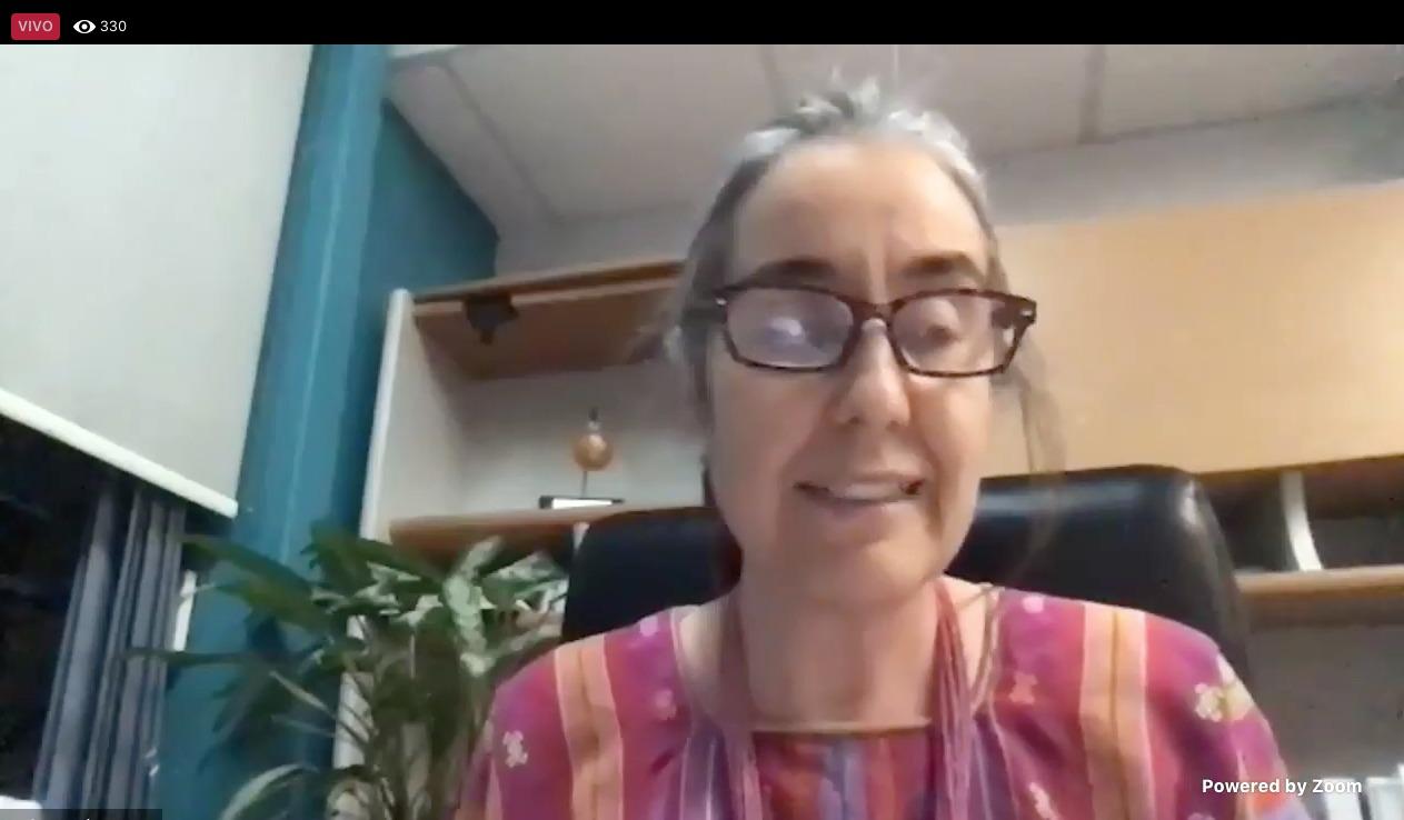 Captura de pantlla de la Dra. Bárbara Vizmanos Lamote, dando mensaje inaugural