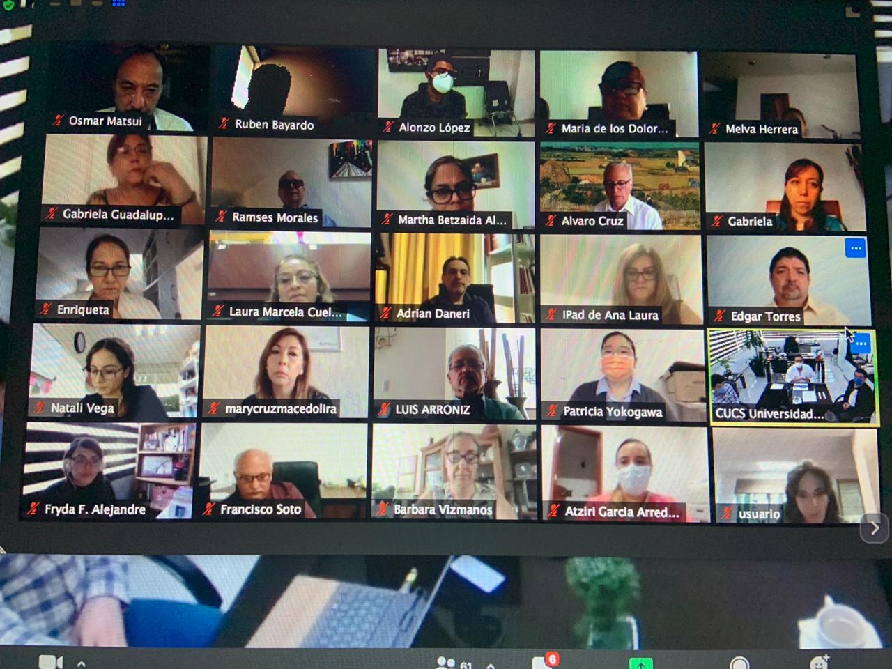 Captura de pantalla con todos los participanes en reunión virtual