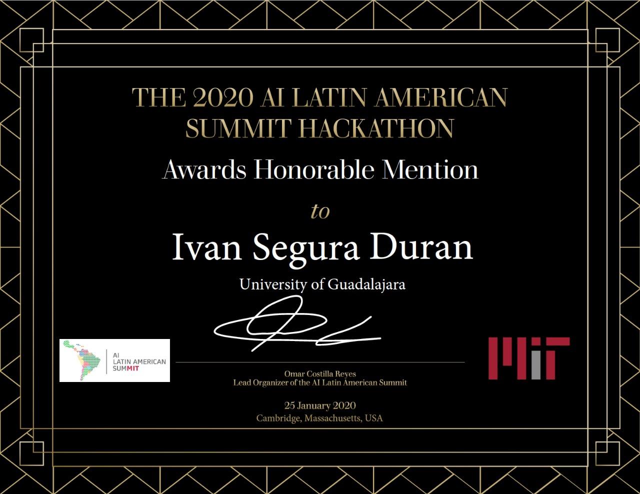 Diploma de Mención Honorífica otorgada por el MIT