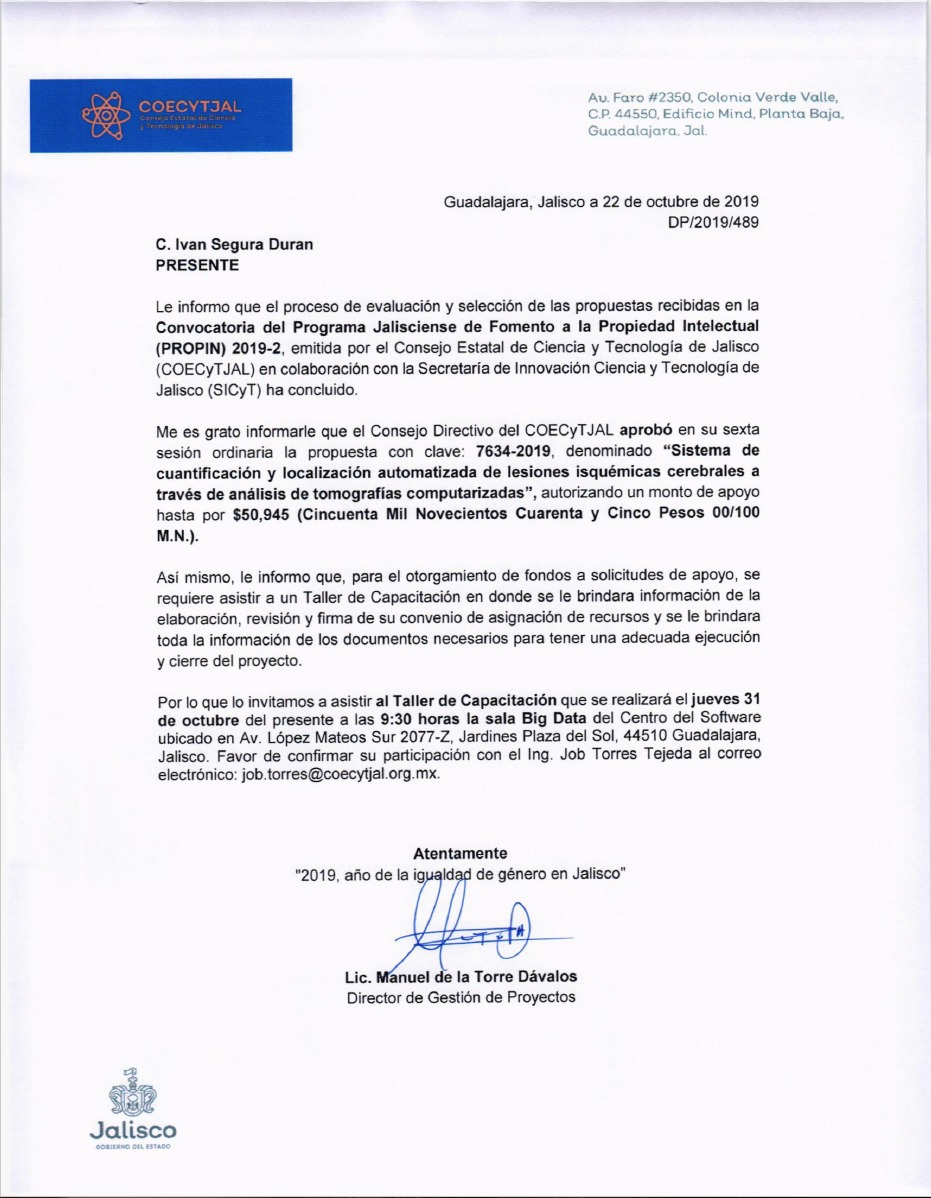 Carta de Aceptación de propuesta de patente y otorgamiento de recursos