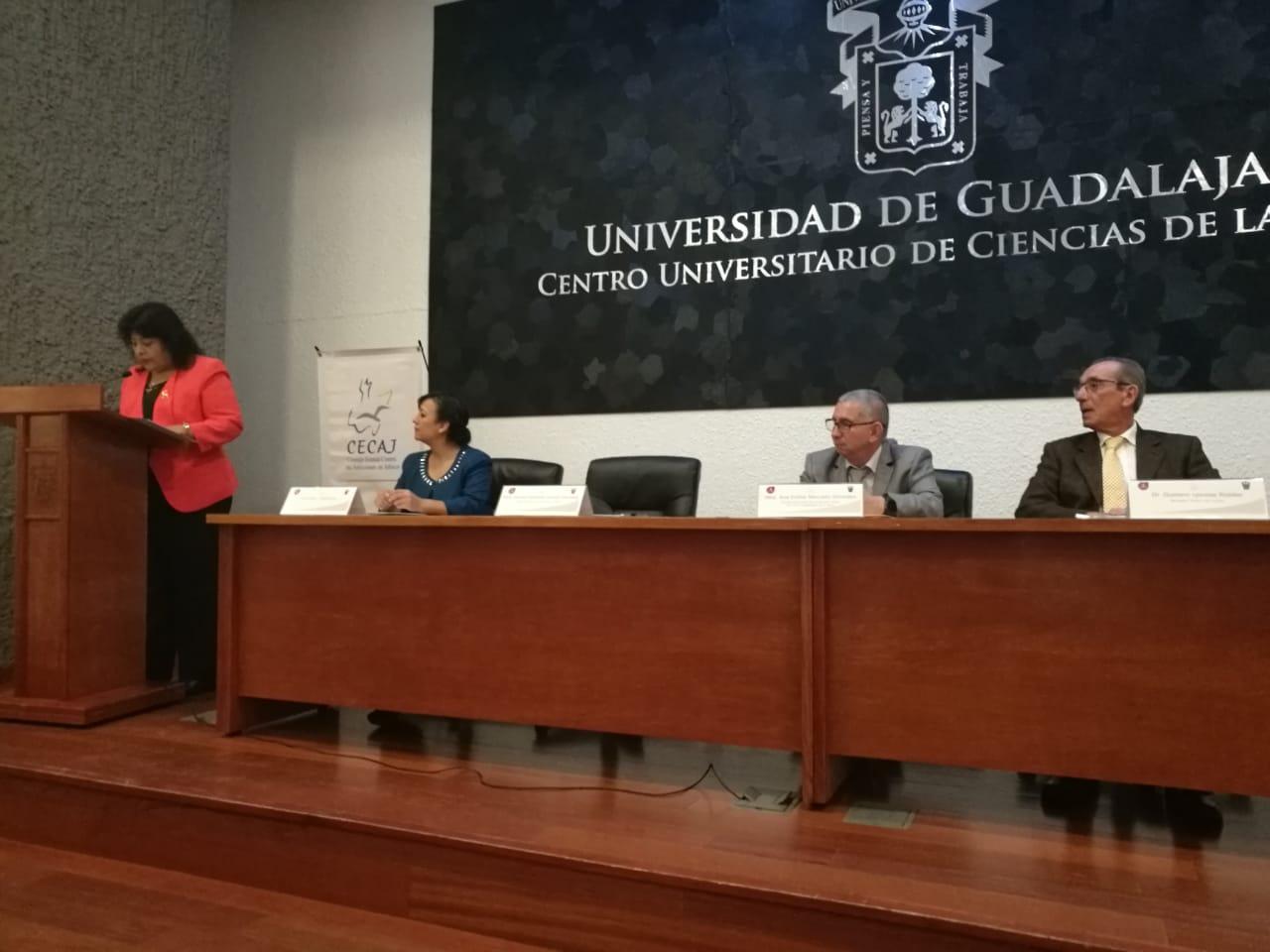 Dra Sandra Lecona al micrófono en el podio