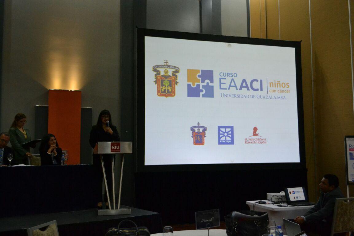 En la pantalla, proyección con el nombre del curso y las instituciones participantes