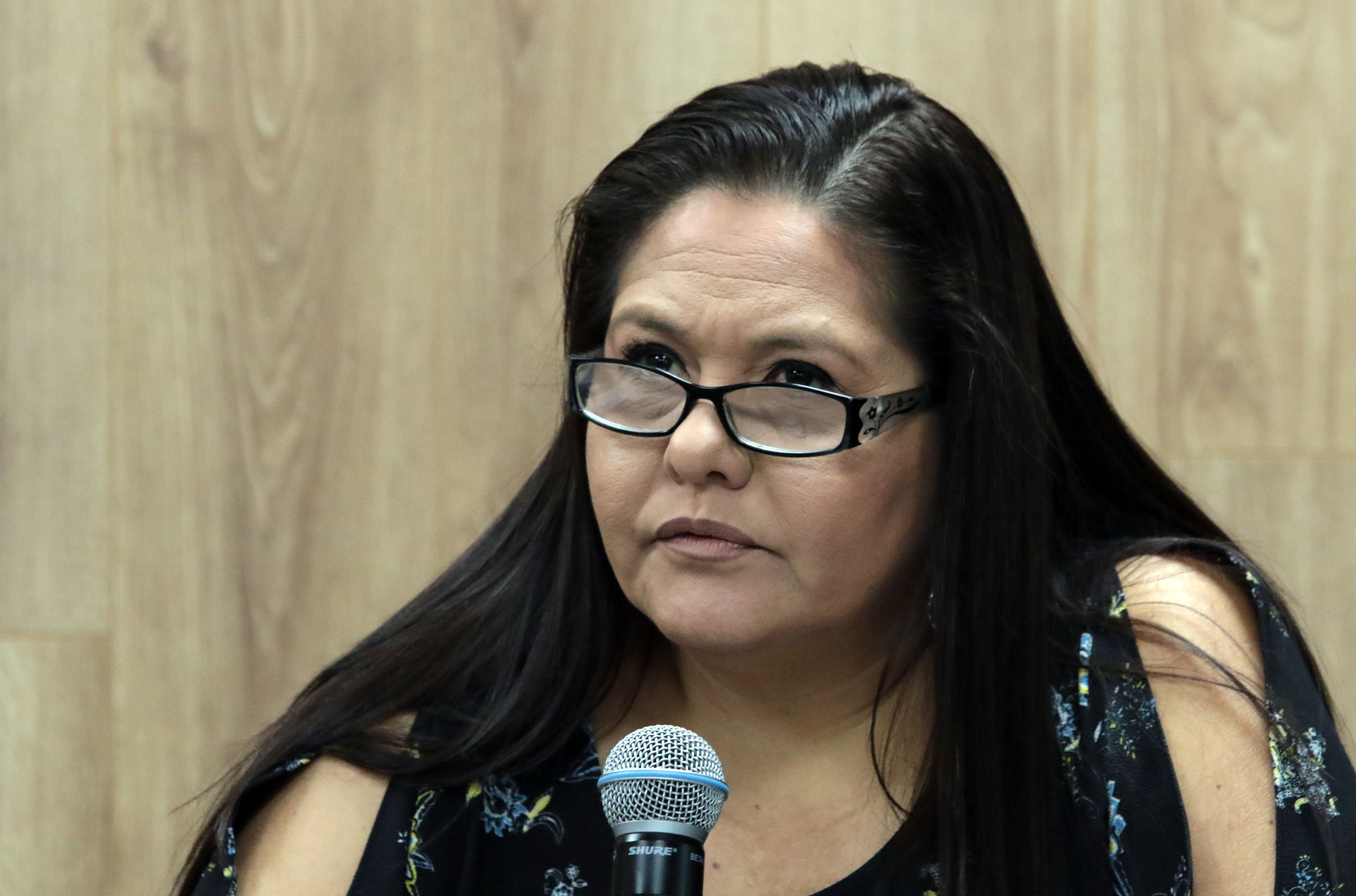 Mtra Catalina Pérez exponiendo en rueda de prensa