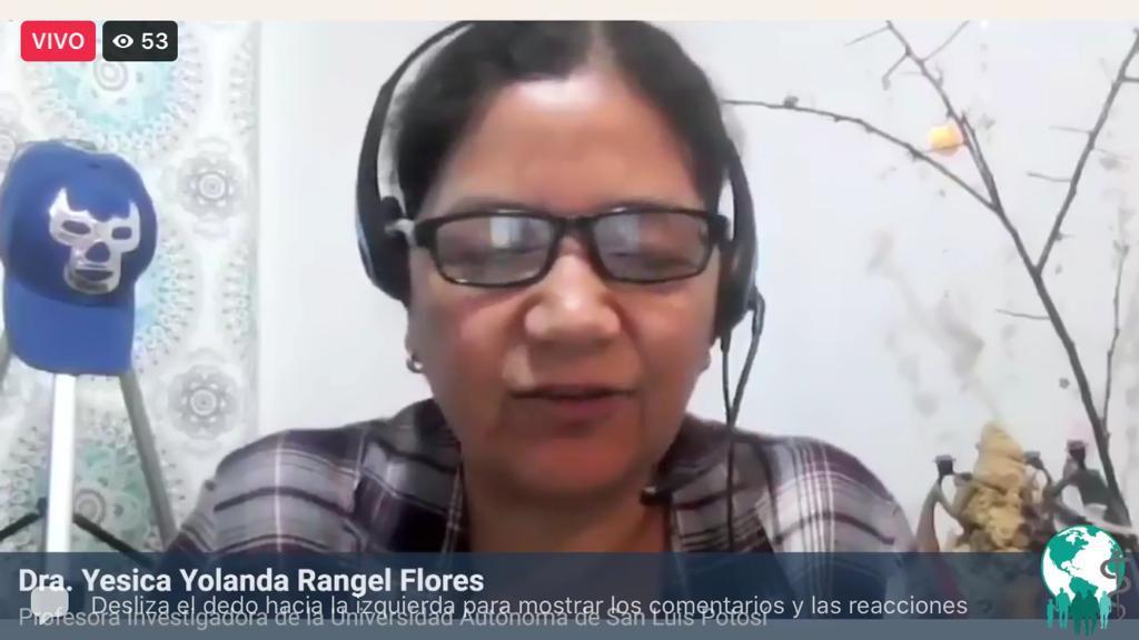 Captura de pantalla de la ponente repondiendo a preguntas de los asistentes