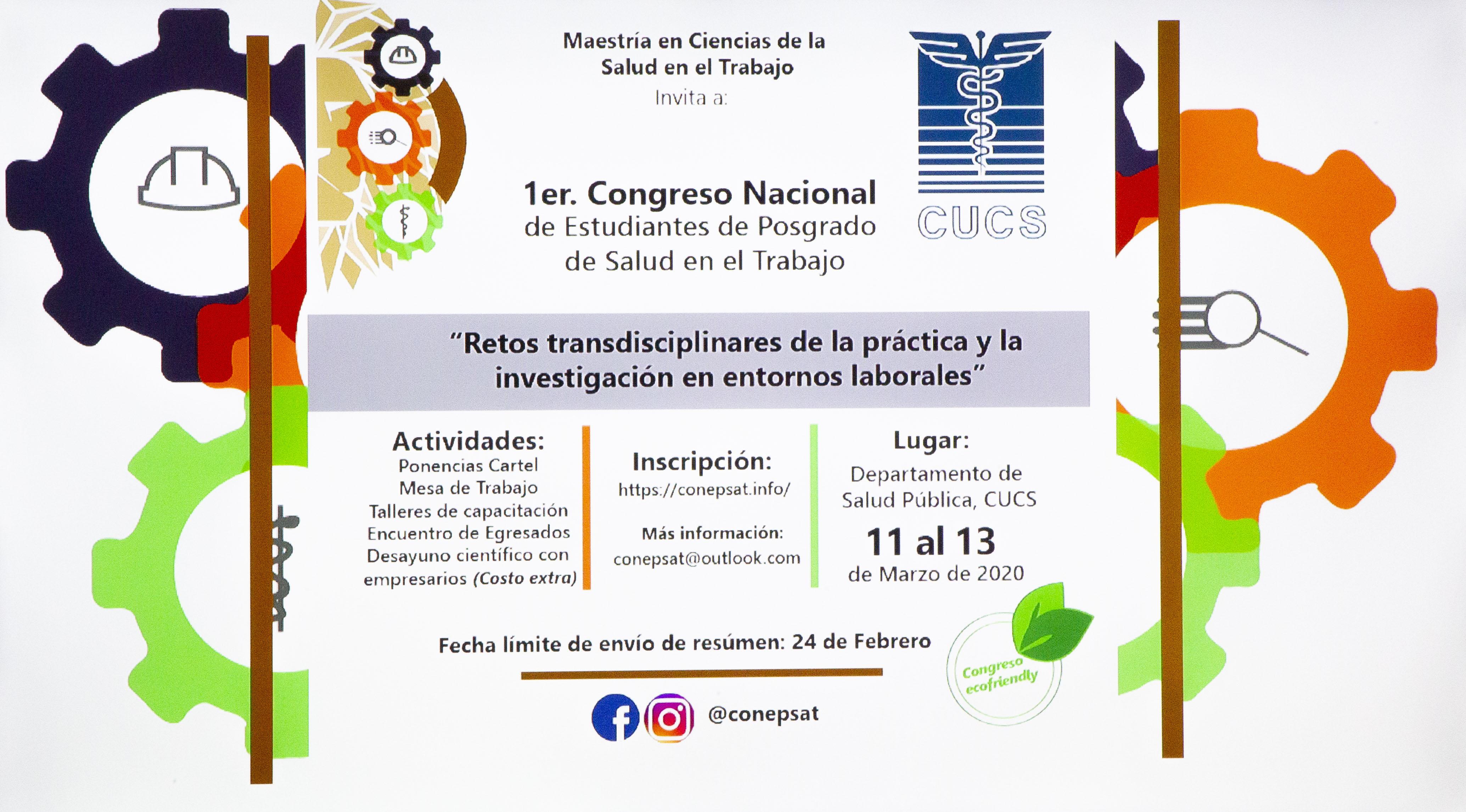 Cartel promocional del 1er Congreso de Estudiantes de Posgrado de Salud en el Trabajo