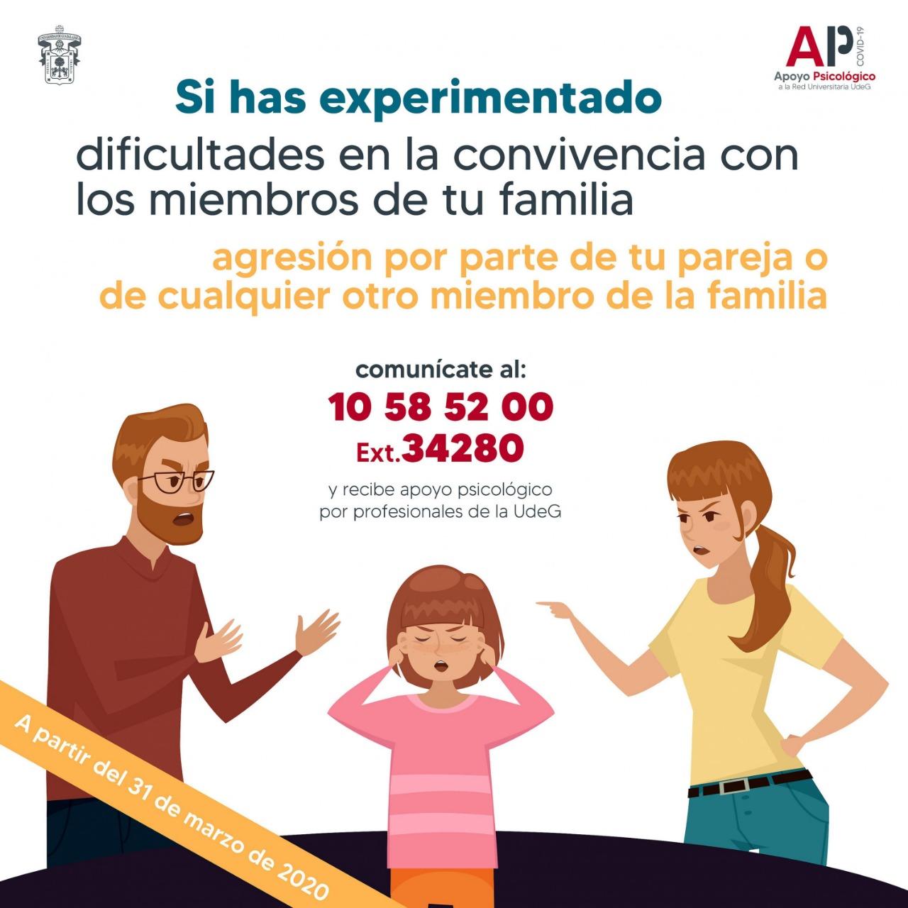 Banner promocional del Servicio de Apoyo Psicológico problemas familiares
