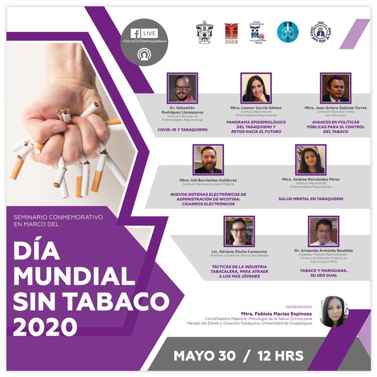 Banne promocional del Seminario Conmemorativo por el Día Mundial Sin Tabaco