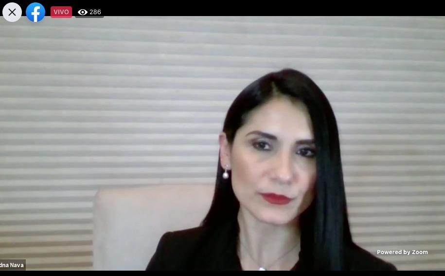 Captura de pantalla de la  Dra. Edna Nava González impartiendo conferencia
