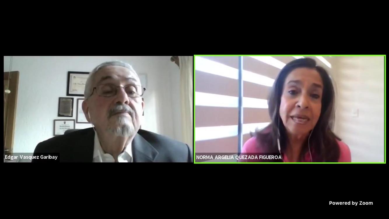 Captura de pantalla de la Dra. Norma Quezada y del Dr. Edgar Vázquez