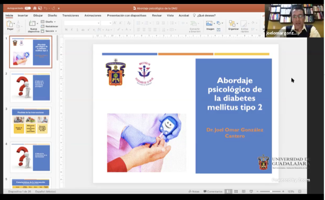 Captura de pantalla con diapositiva usada en la presentación del ponente