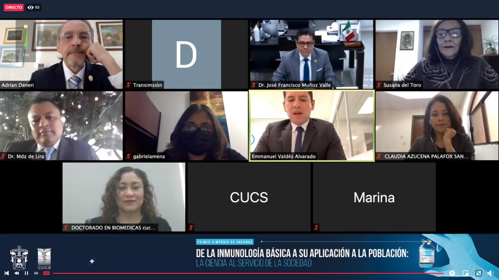Captura de pantalla de todos los panelistas