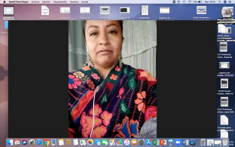 Captura de pantalla con imagen de la ponente