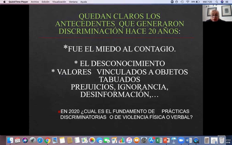 Captura de pantalla de diapositiva con foto del ponente al fondo
