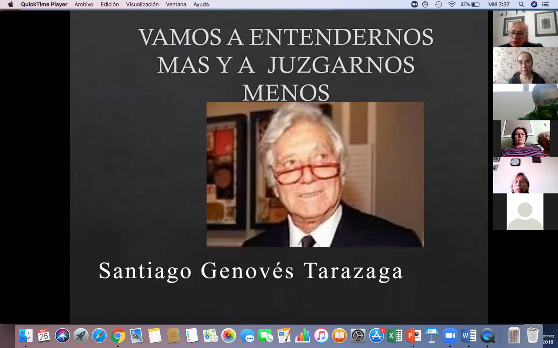 captura de pantalla de diapositiva con fotos de ponentes al fondo