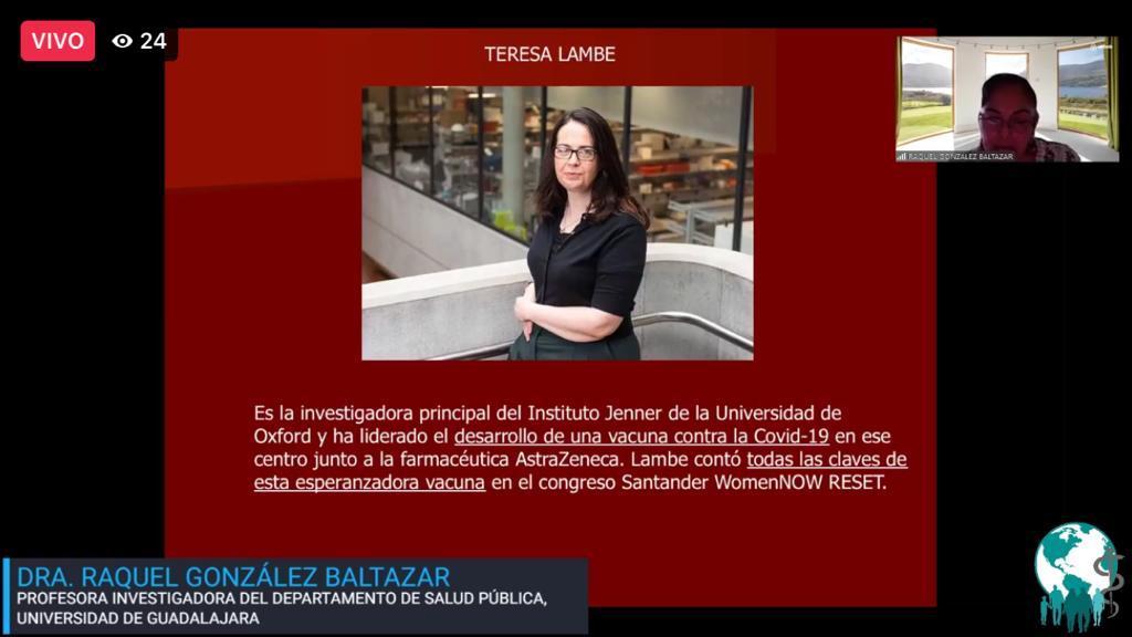 Diapositiva utilizada durate la conferecia con fotografía de la creadora de la vacuna Oxford