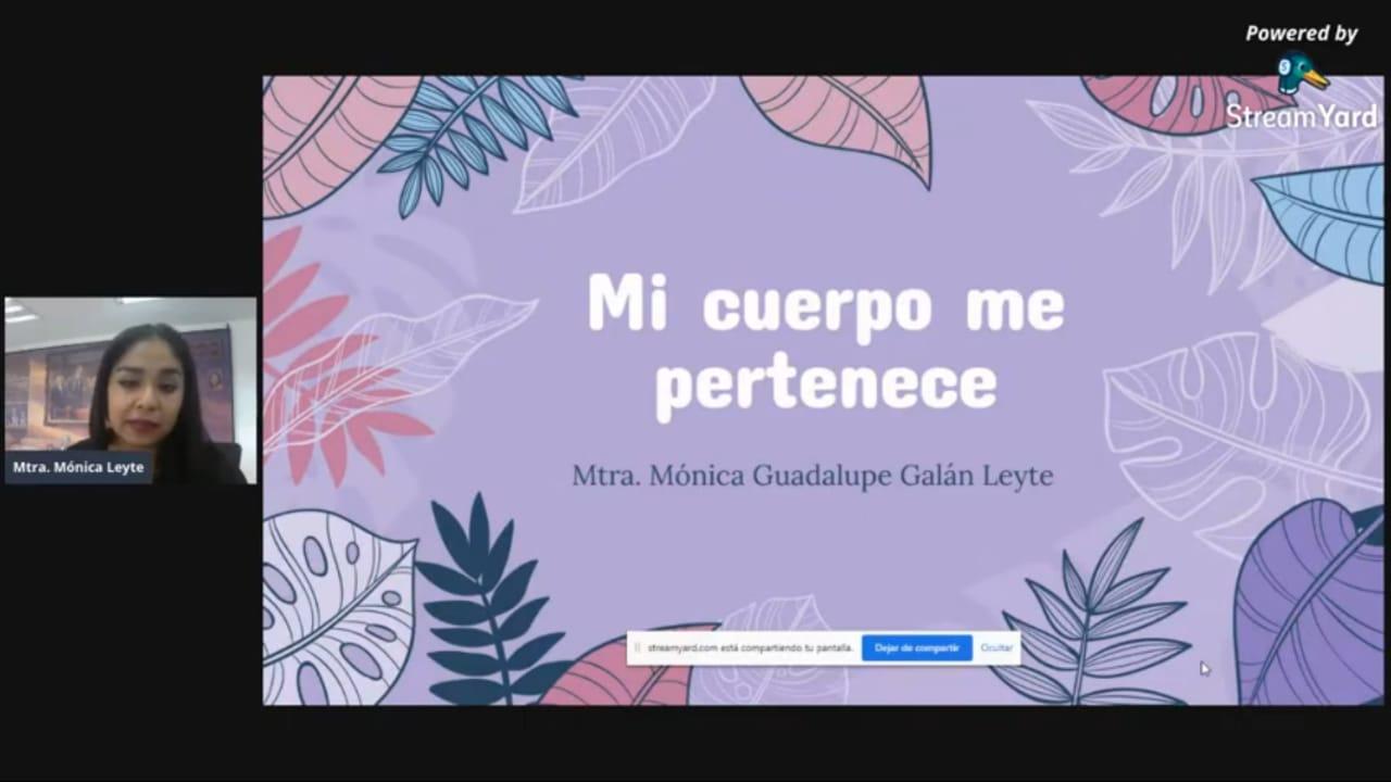 Captura de pantalla de Dra. Mónica Galán con diapositiva