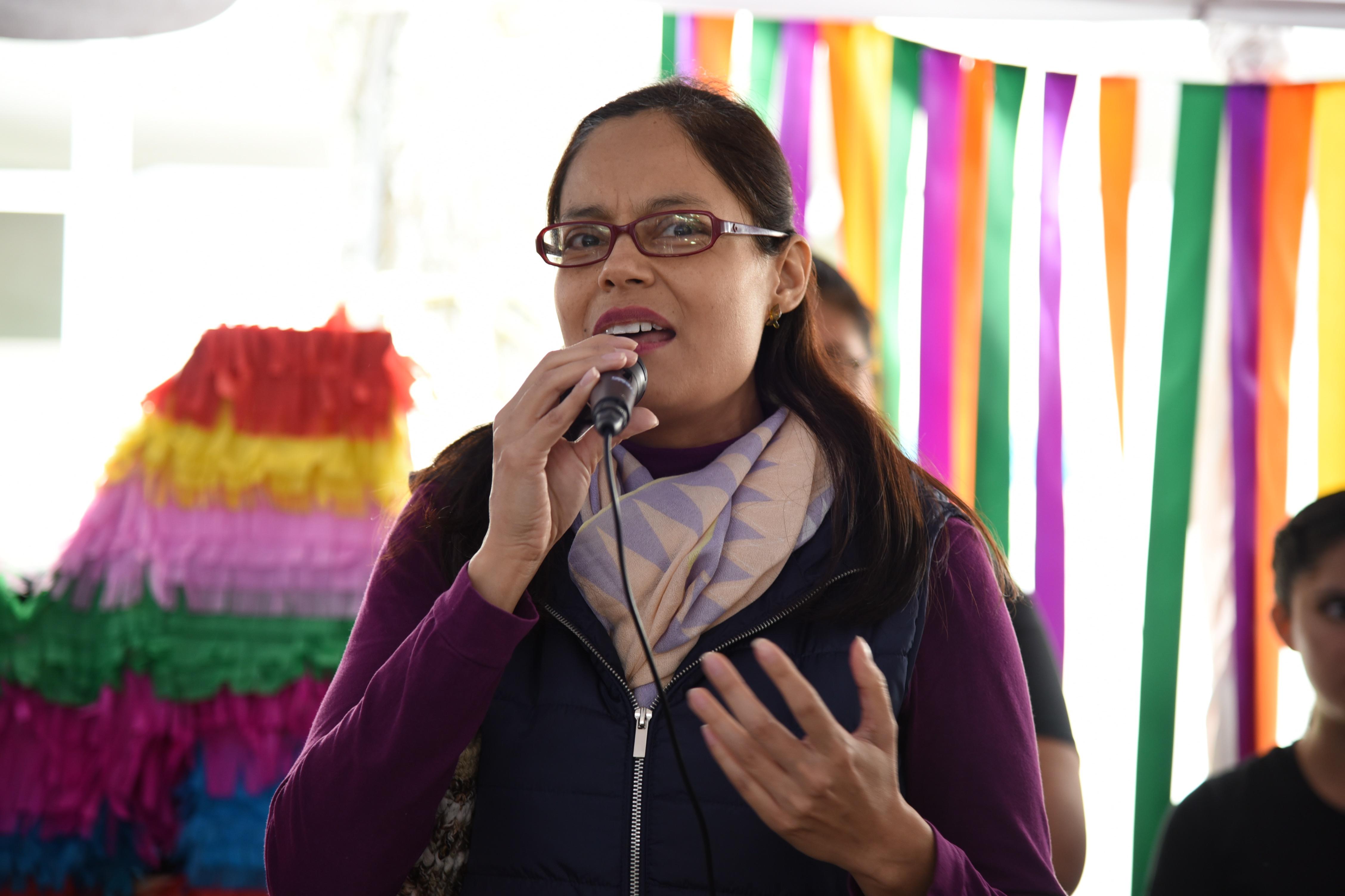Mtra Martha Altamirano, dando mensaje durante el acto inaugural de la Expo