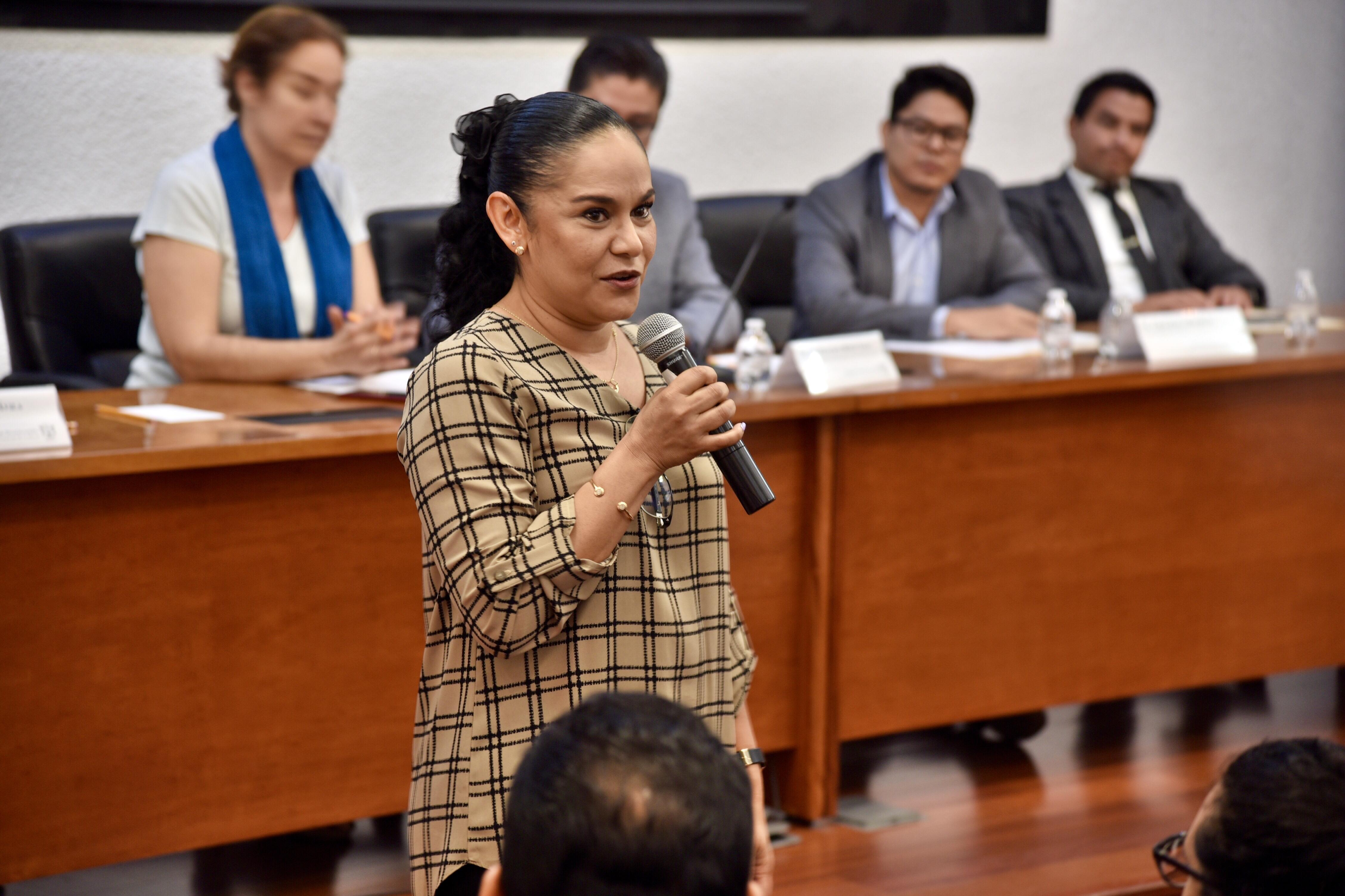 Dra. Érika Martínez haciendo uso de la voz desde su butaca