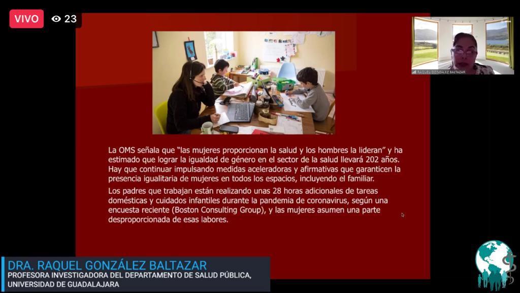 Diapositiva utilizada durante la conferencia con una imagen de una madre trabajando el línea en el comedor junto con sus hijos estudiando