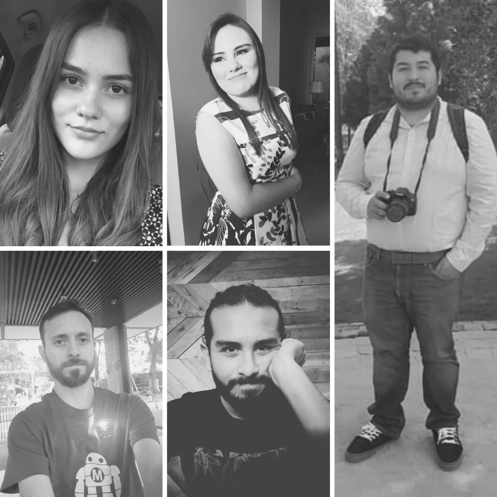 Colash de fotos individuales de cada uno de los integrantes del equipo ganador del CUCS, en blanco y negro