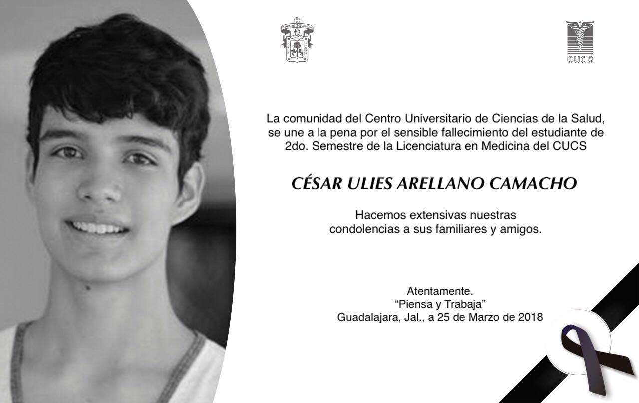 Esquela CUCS por la muerte del estudiante de Medicina, César Ulises Arellano Camacho QEPD