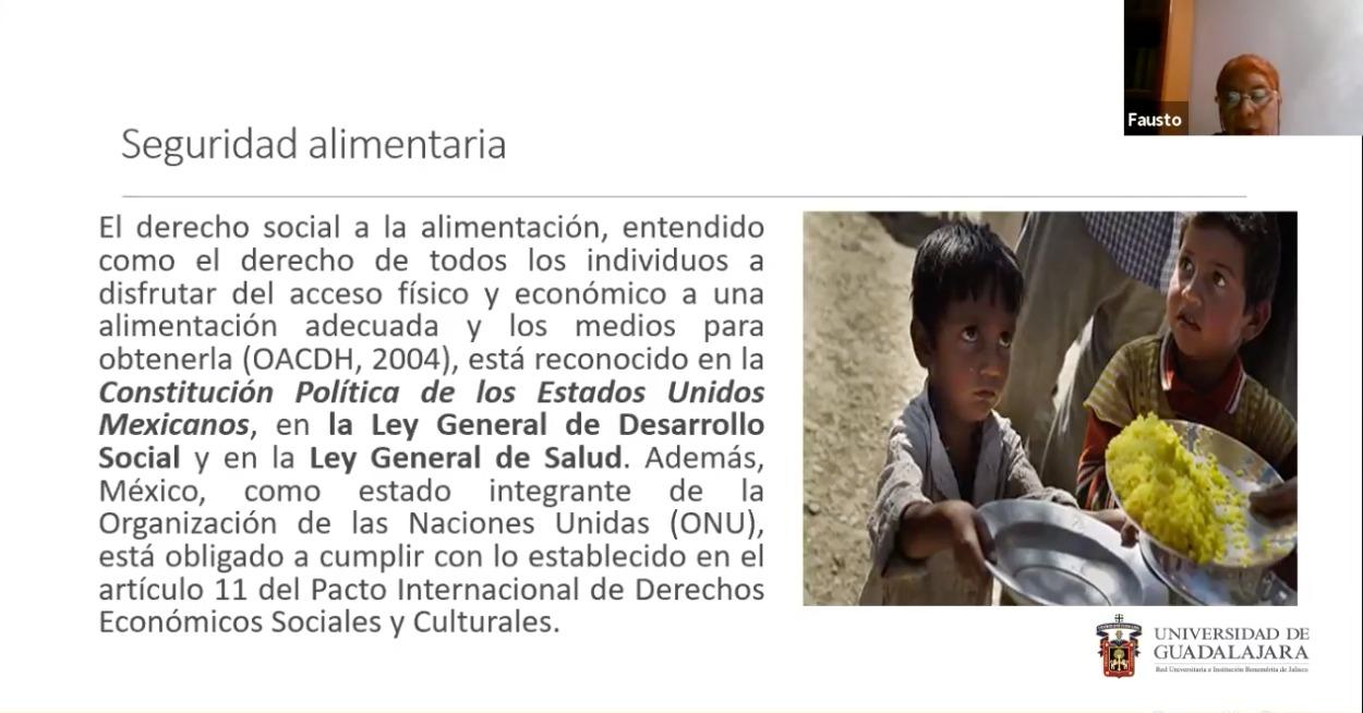 Captura de pantalla de Zoom de una diapositiva de la ponencia