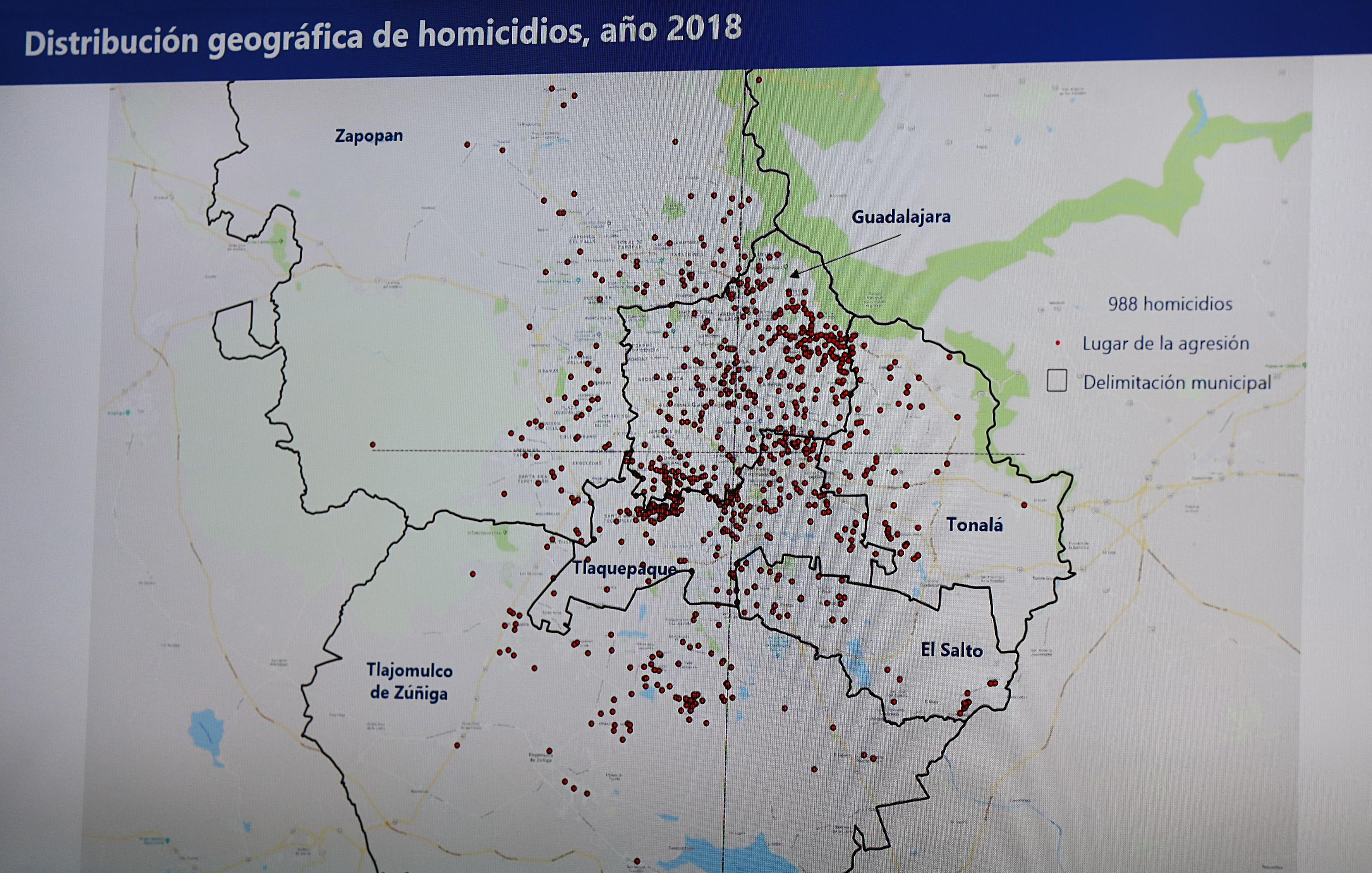 Mapa de los homicidios en el área metropolintana