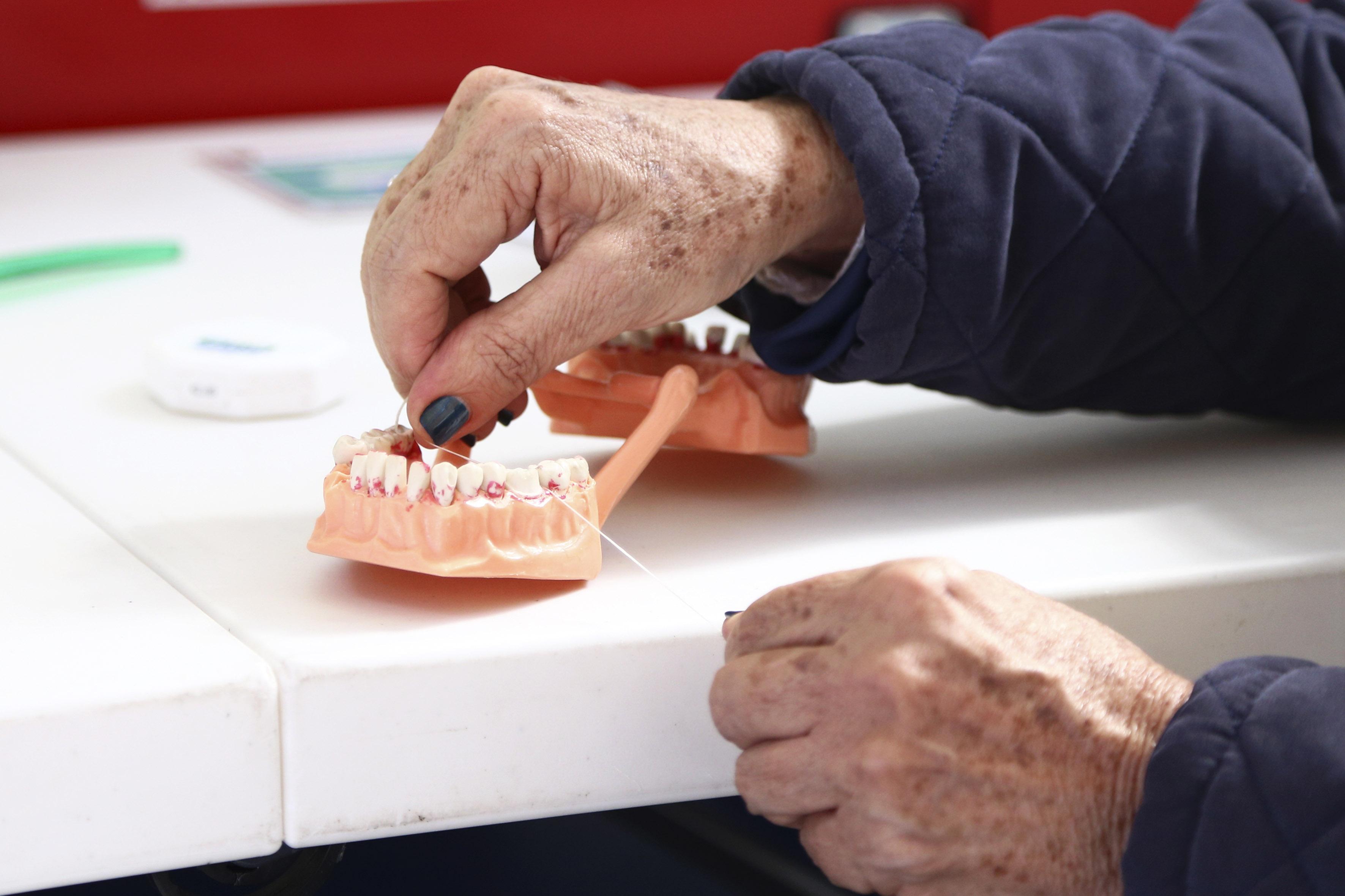 Persona adulta mayor enseñando la técnica correcta de uso dental