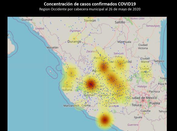 Mapa 1 Concentración de Casos Conirmadors de COVID-19 al 26 de mayo