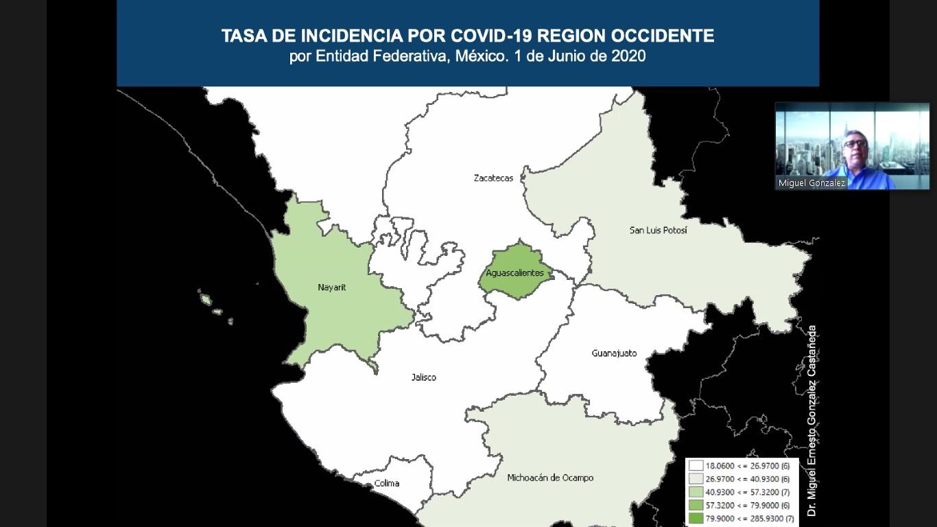 Mapa 3: Tasa de incidencia por COVID-19 Región Occidente por Entidad Federativa, México 1 de Junio de 2020