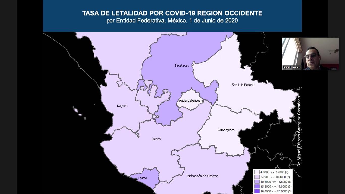 Tasa de letalidad por COVID-19 Región Occidente por Entidad Federativa
