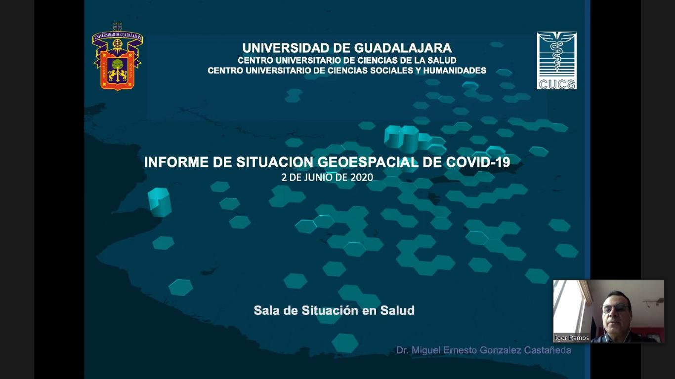 "Portada presentación ""Informe de situacón geoespacial de COVID-19"