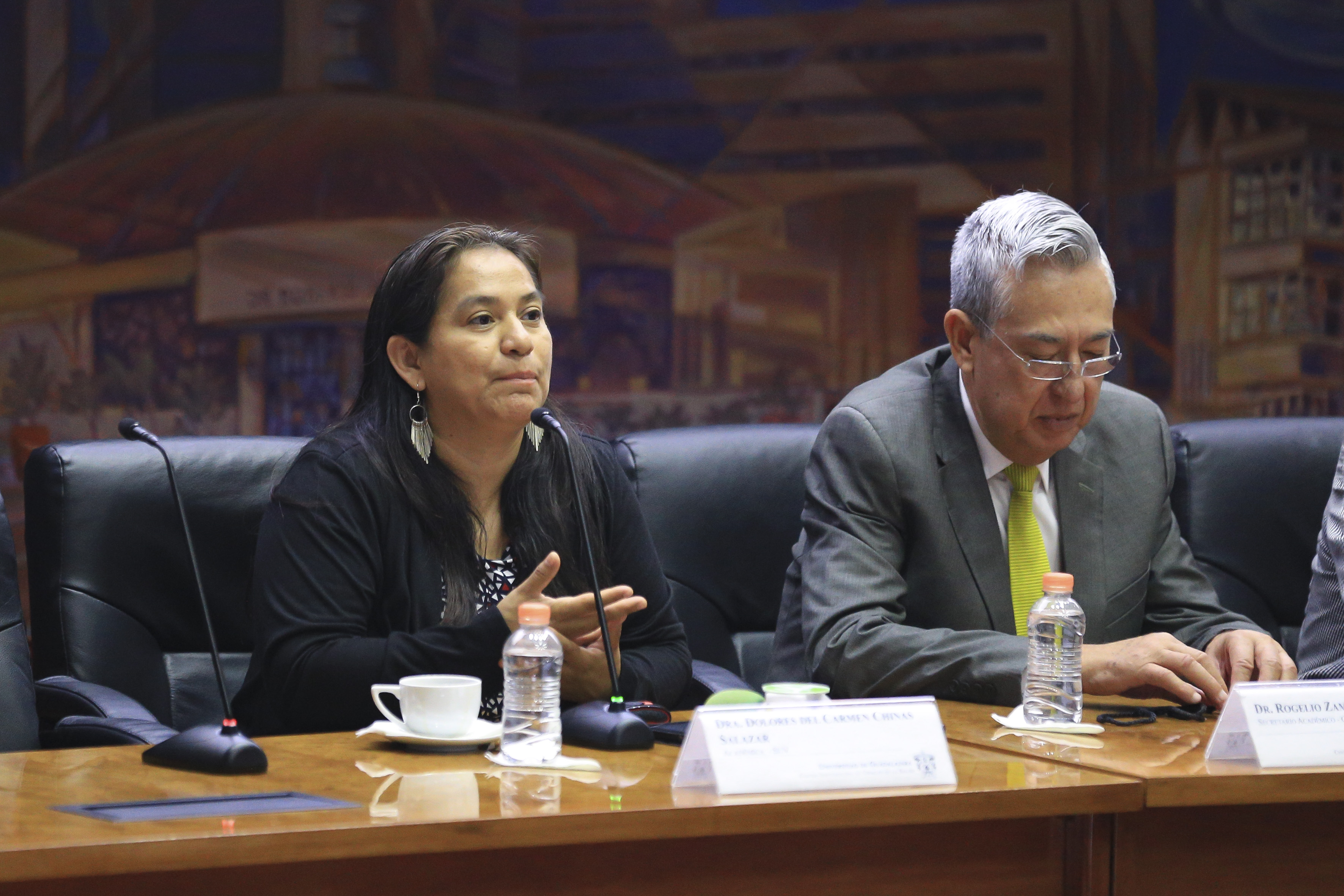 Dra. Carmen Chinas Salazar haciendo uso del micrófono
