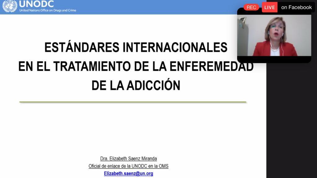 Captura de pantalla de la funcionaria de la ONU al fondo diapositiva con el nombre de su conferencia