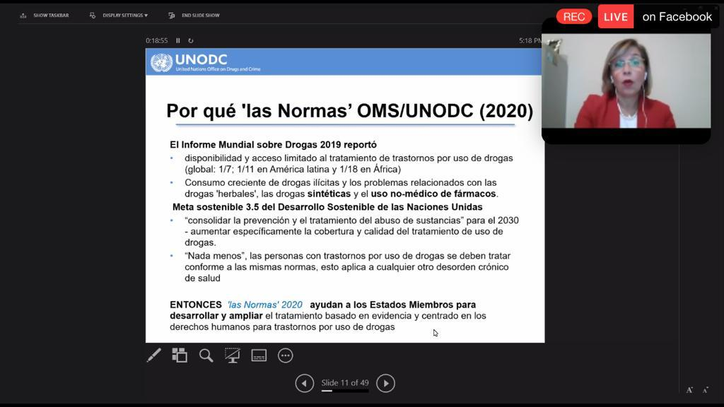 Captura de pantalla de la conferencista, al fondo diapositva titulada Porqué la Normas OMS/UNODC (2020)