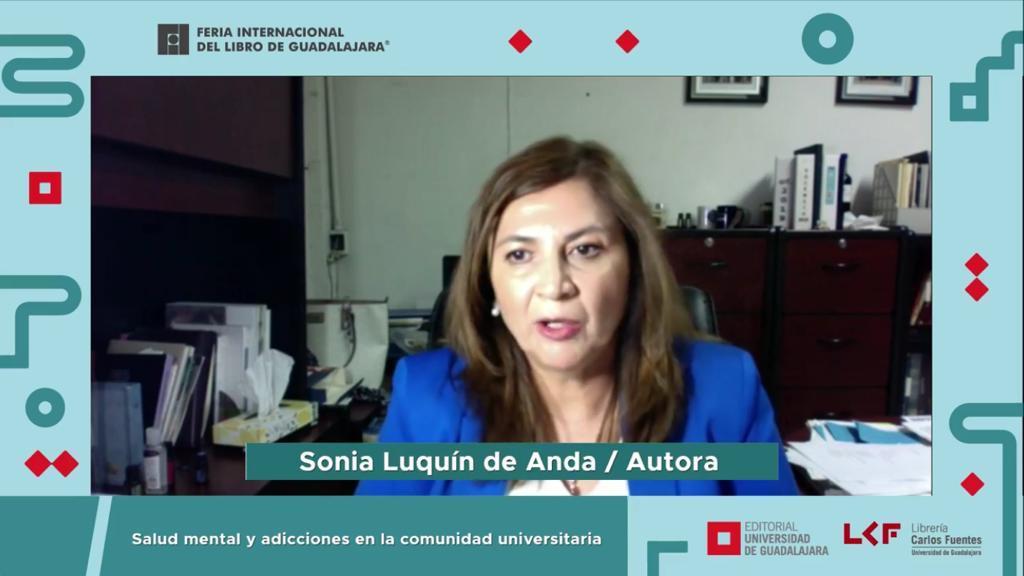 Captura de pantalla Dra. Sonia Luquín durante la presentaión del libro