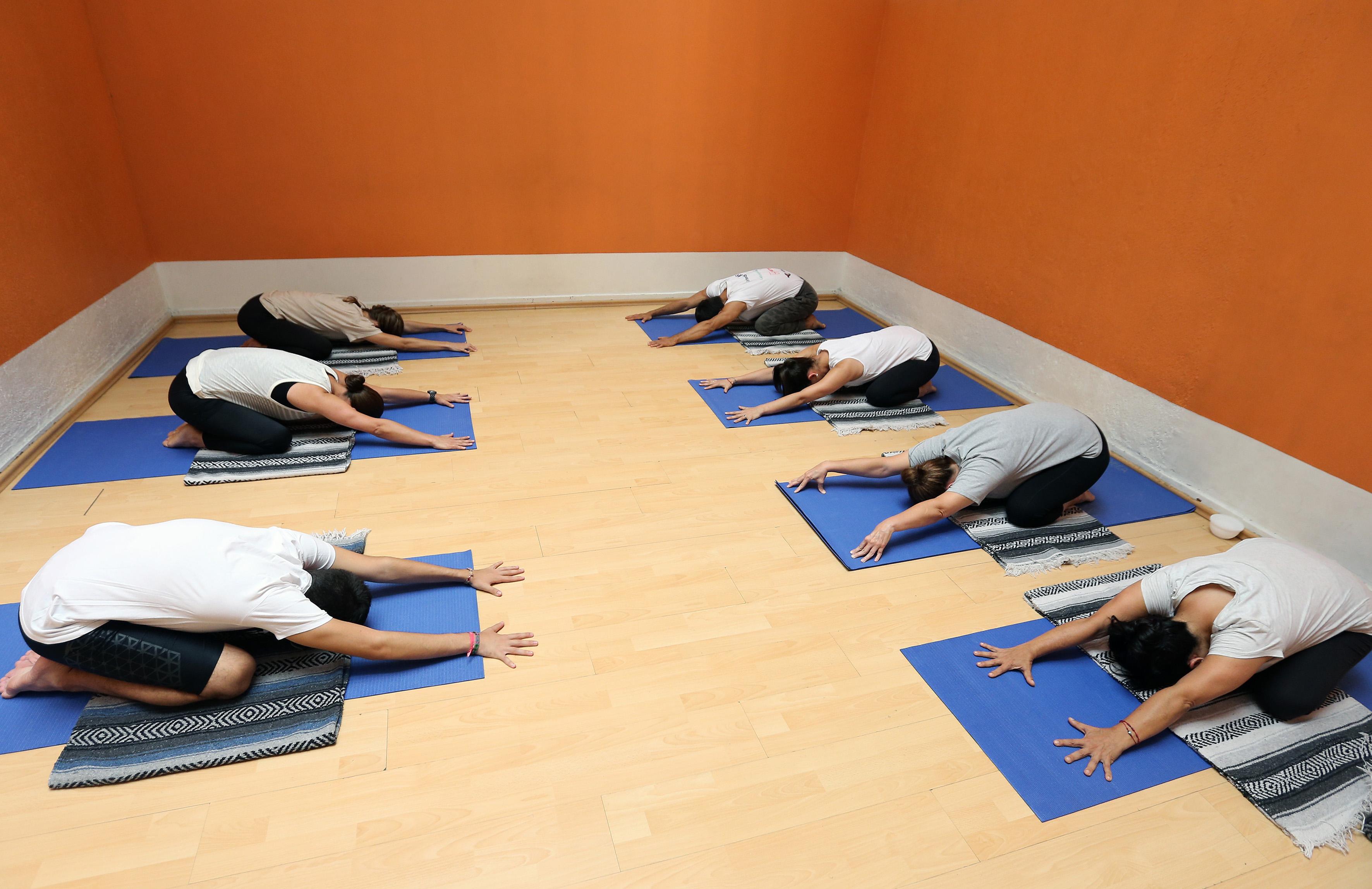 Alumnos en posición de yoga