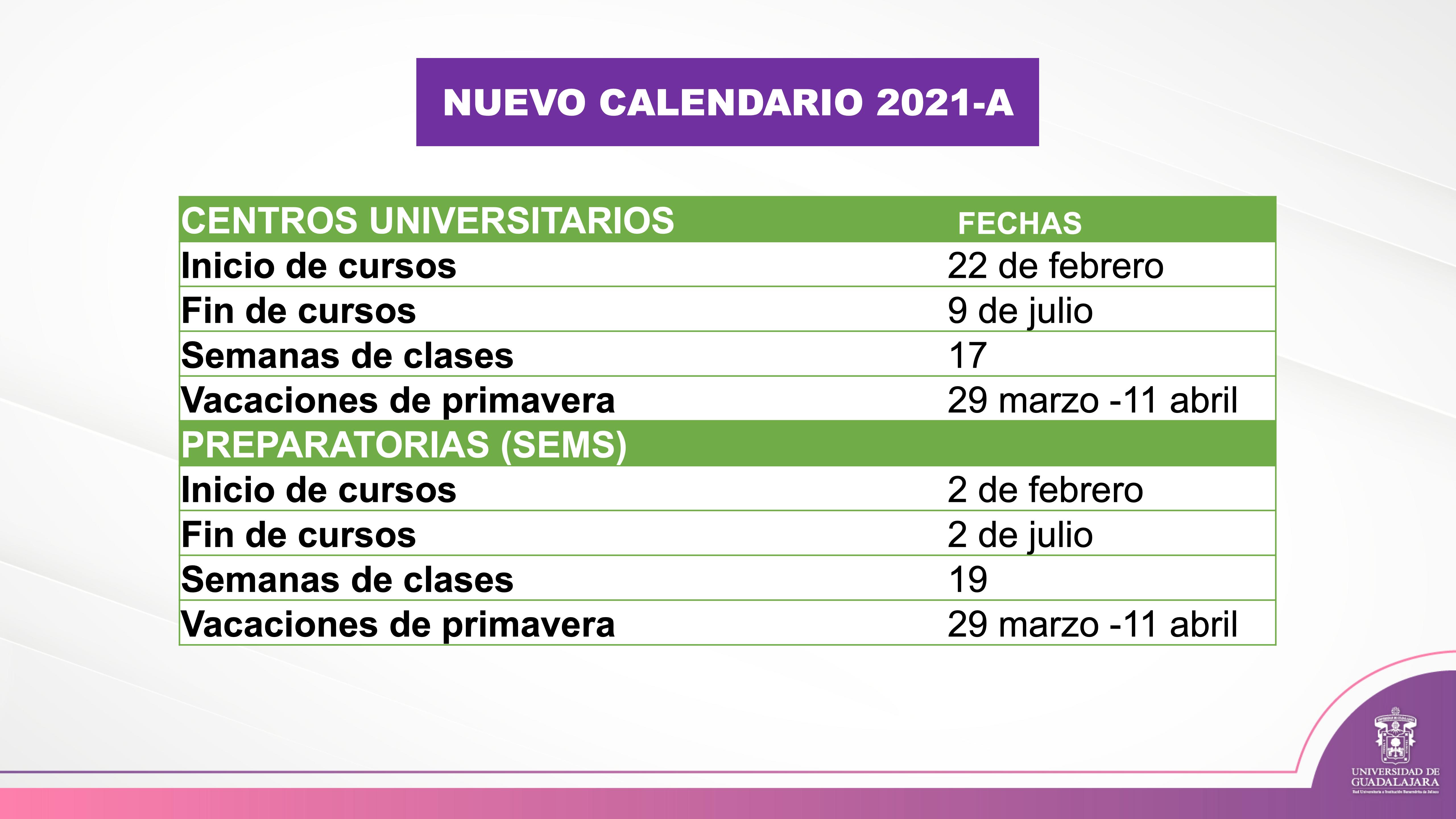 Diapositiva con el nuevo calendario escolar