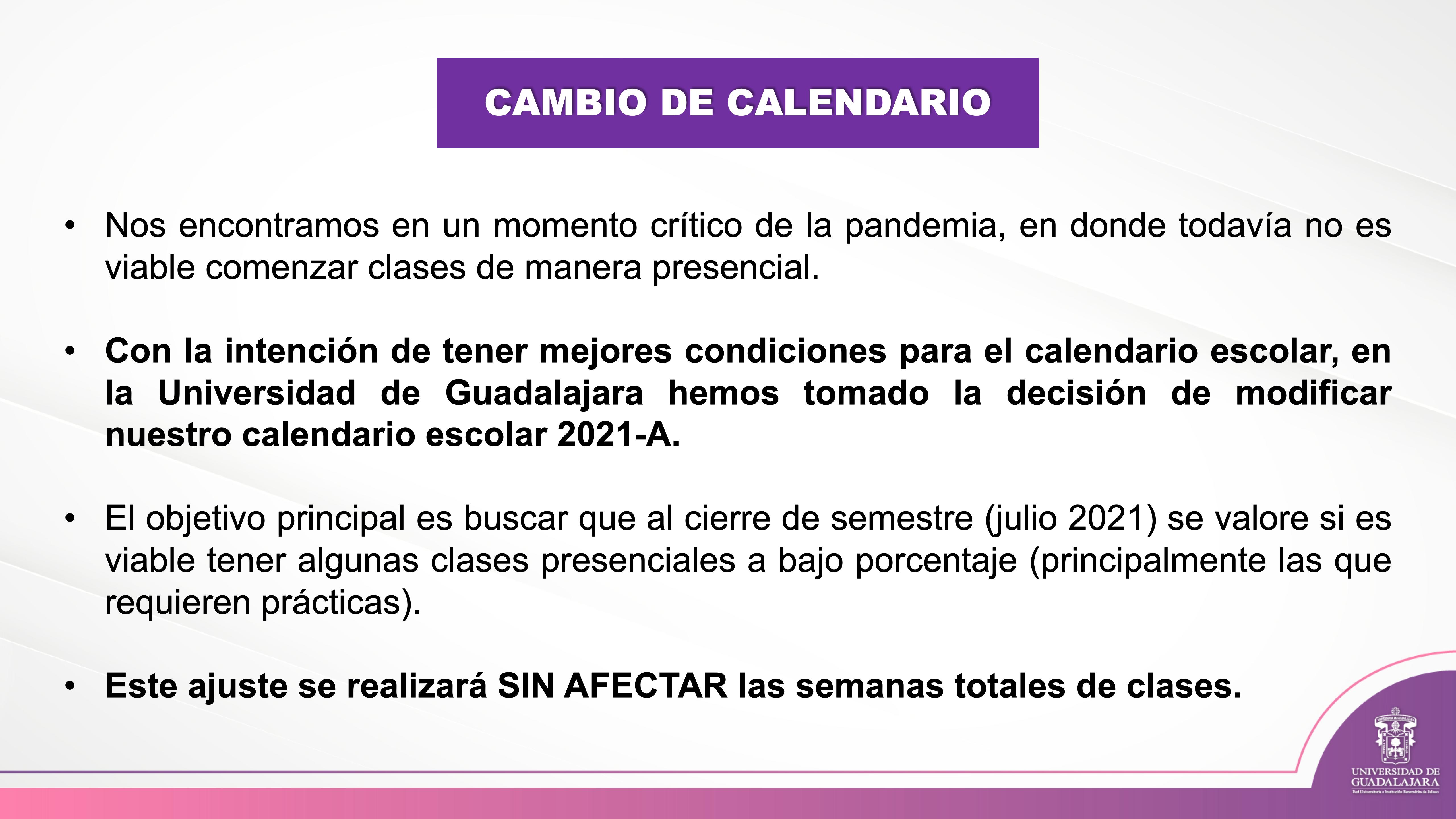 Diapositiva con justificación del apalazamiento del inicio del ciclo escolar