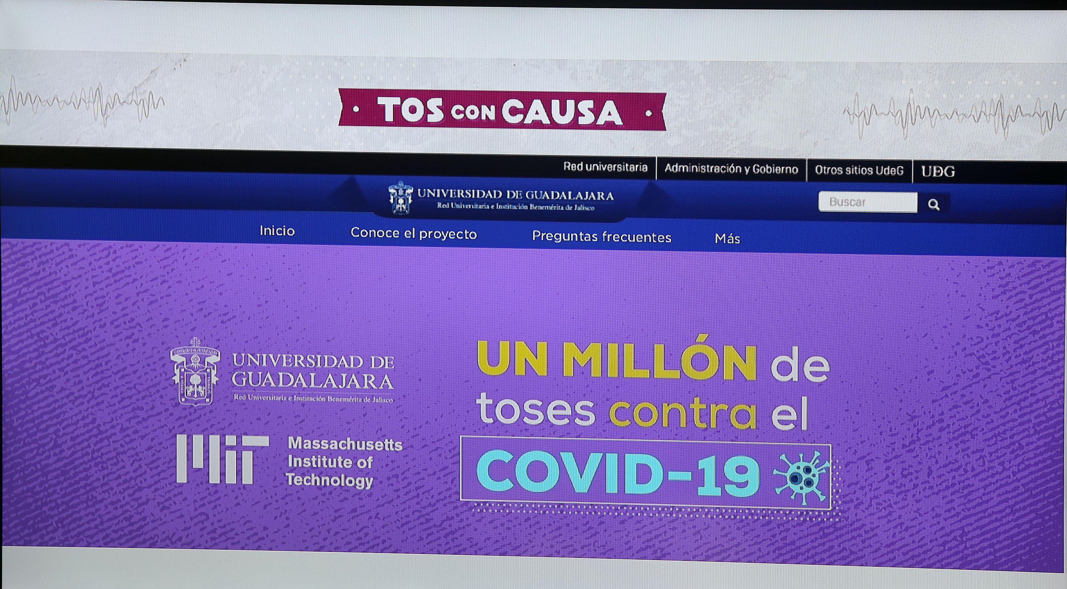 Imagen de la página Web del proyecto Tos con Causa