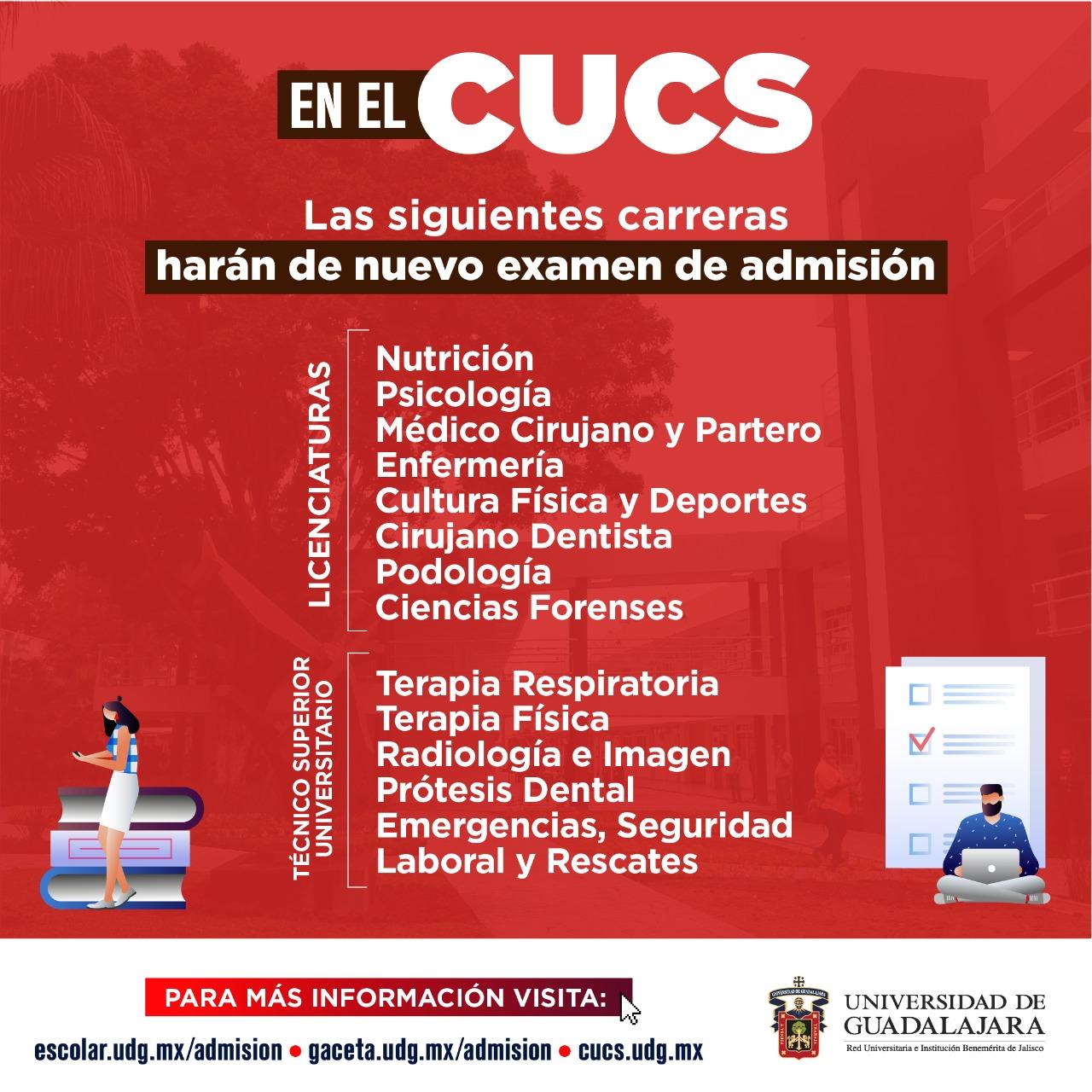 Imagen de las carreras del CUCS que deberán repetir examen de admisión