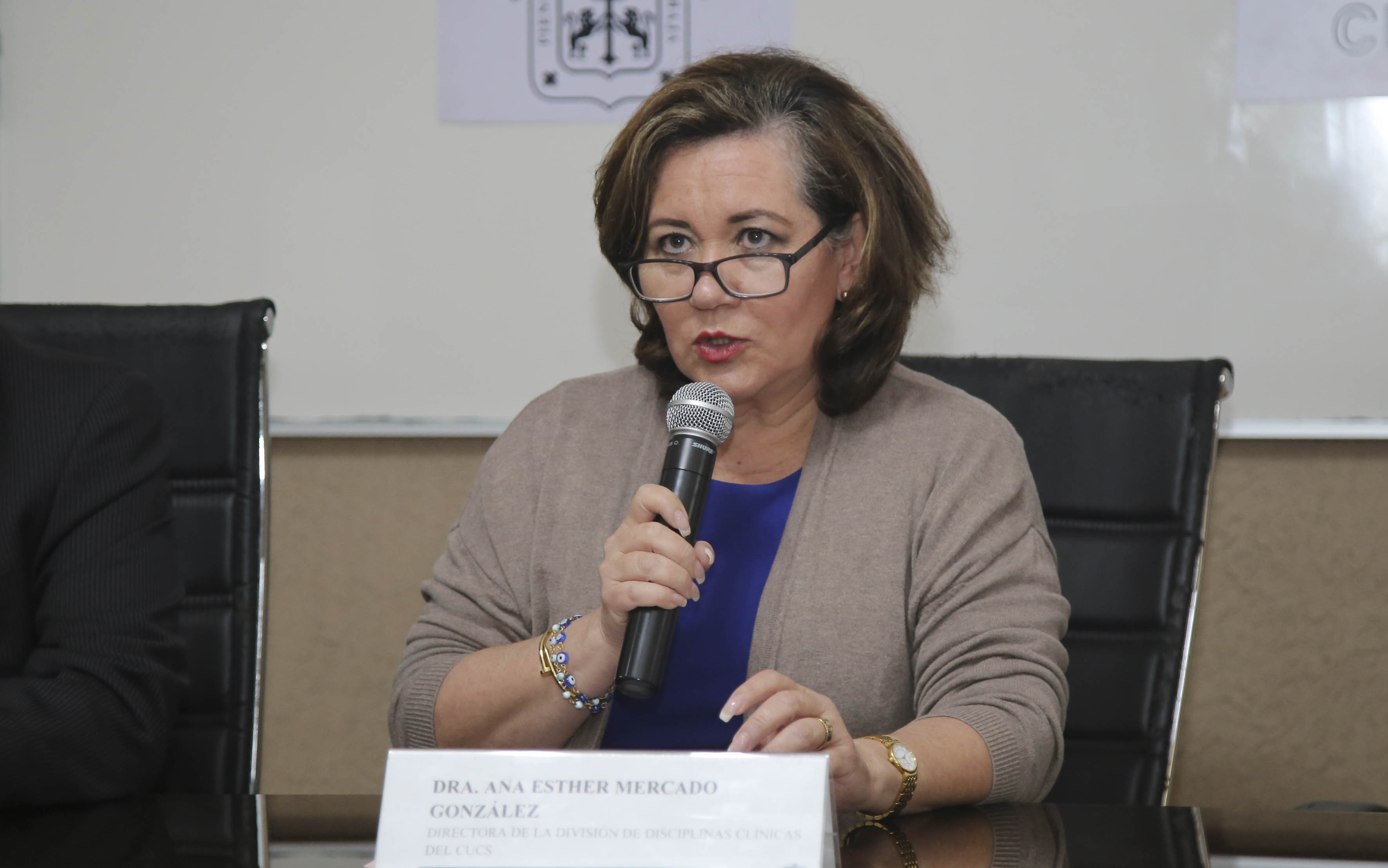 Dra. Ana Mercado haciendo uso de la voz en rueda de prensa