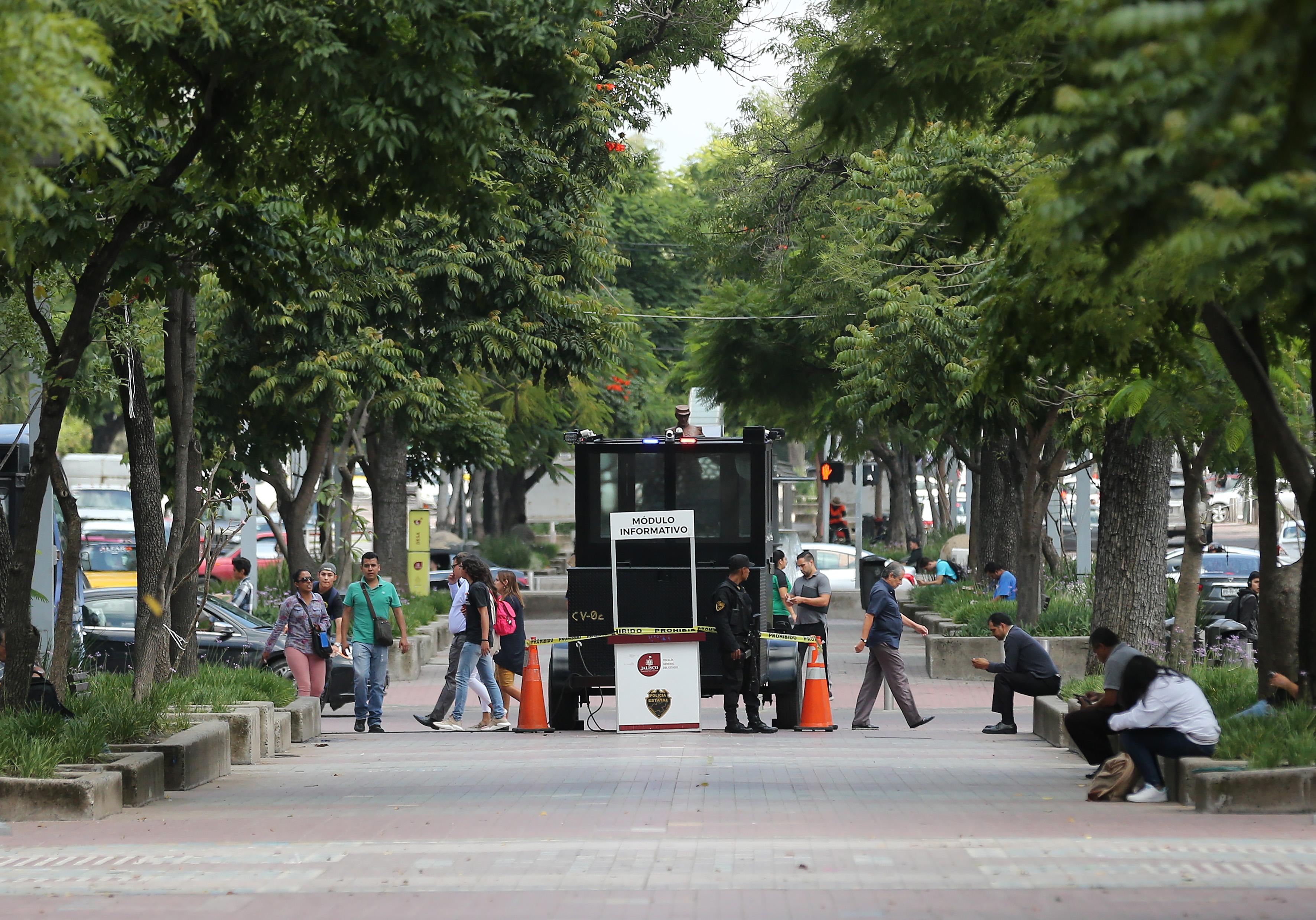 Módulo de policía en un parque